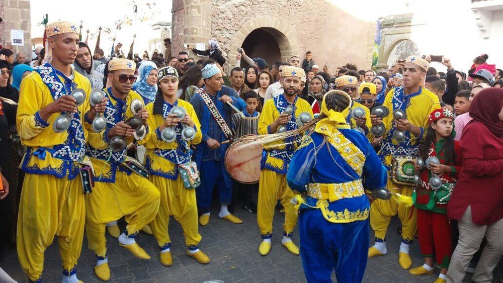 "Gnawa musicians at opening ceremony of ""Gnaoua Music Festival 2017""-Essaouira"