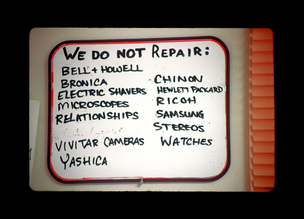 """We Do Not Repair"" sign at Associated Camera Repair in Portland, Oregon. Photo ©2010 Stephen Takacs"