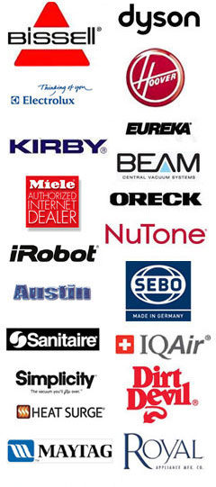This image contains various vacuum cleaner manufacturer logos.