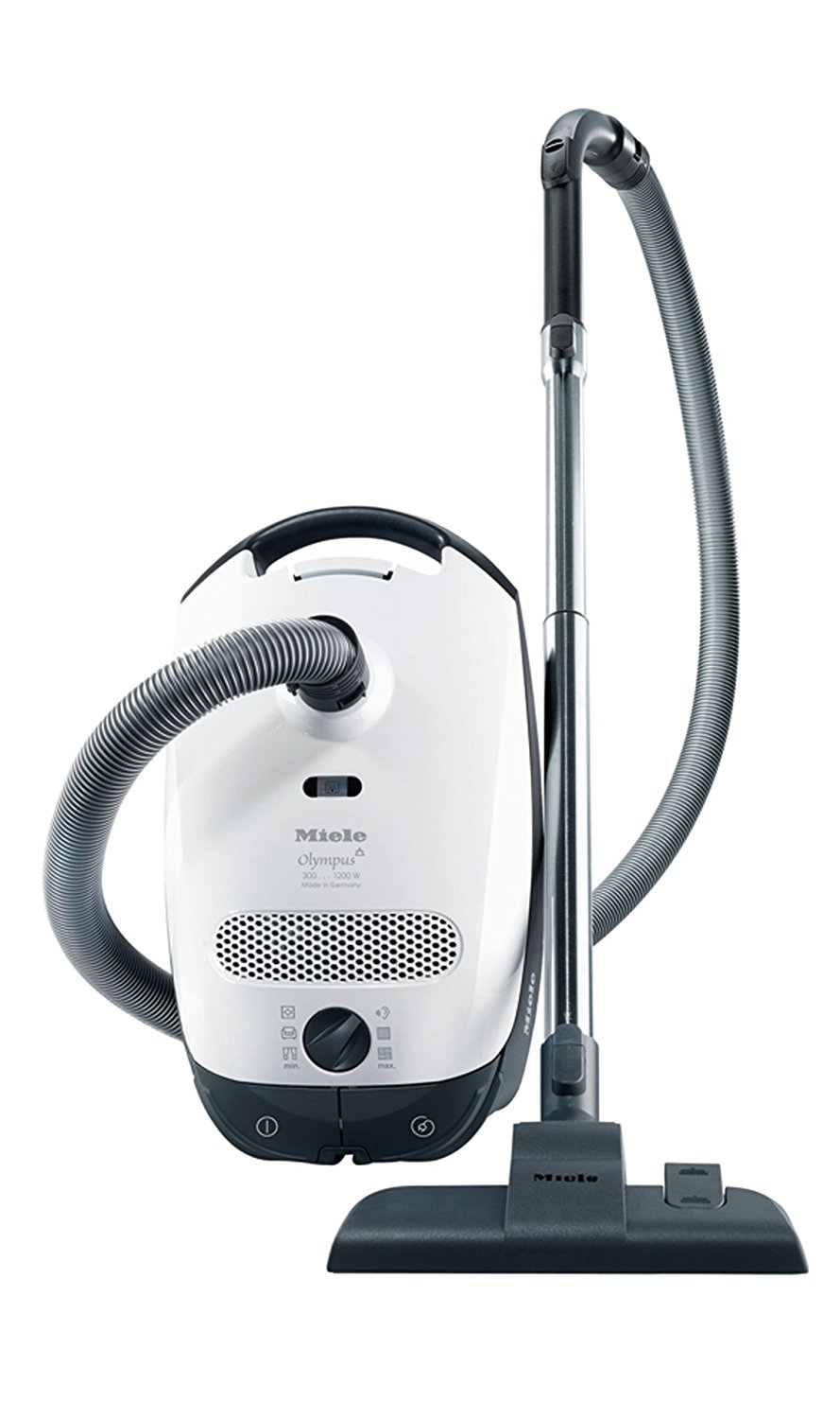This is an image of a Miele canister vacuum cleaner which is great for vacuuming hardwood floors.