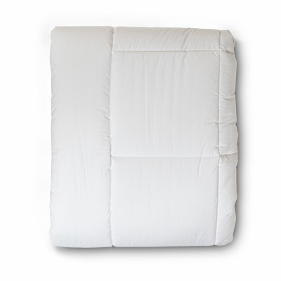 This is an image of a folded hypo allergenic comforter.