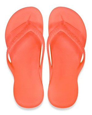 95904cbd6 Archies Arch Support Thongs Flip Flops Orthotic Sandals Coral Single Colour Top View large.jpg