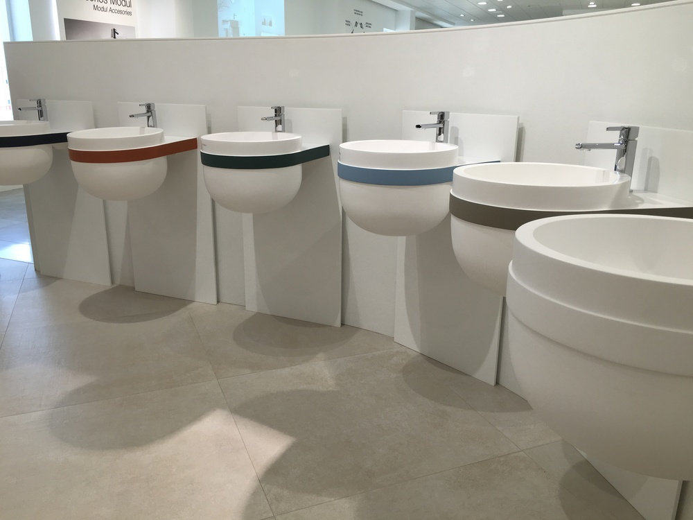 New range of Krion sinks with a band inspired by the Farrow & Ball paint colours