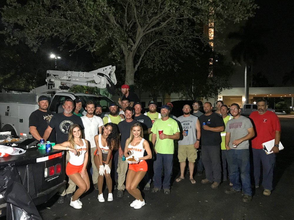Irma Linemen - Sable, Miss Hooters International, and several Hooters Girls from Pembroke Pines hosted an impromptu tailgate party for some visiting linemen from Chicago. As a reminder, during September, the South Florida Hooters locations are offering 25% off for linemen and first responders in uniform or who show ID.