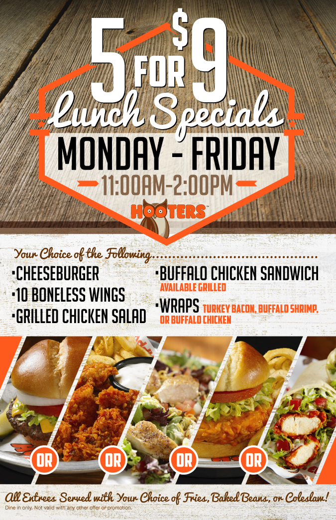 5 for $9 Lunch Specials