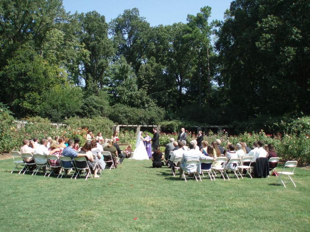 Raleigh Rose Garden Wedding, just behind Raleigh Little Theater