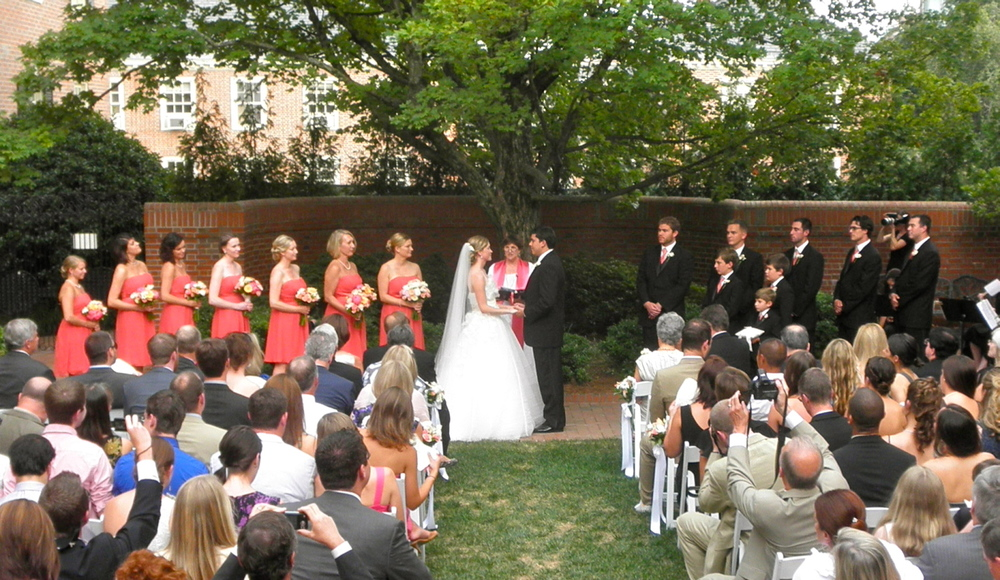 Wedding in the Bryan Courtyard of The Carolina Inn, Chapel Hill NC