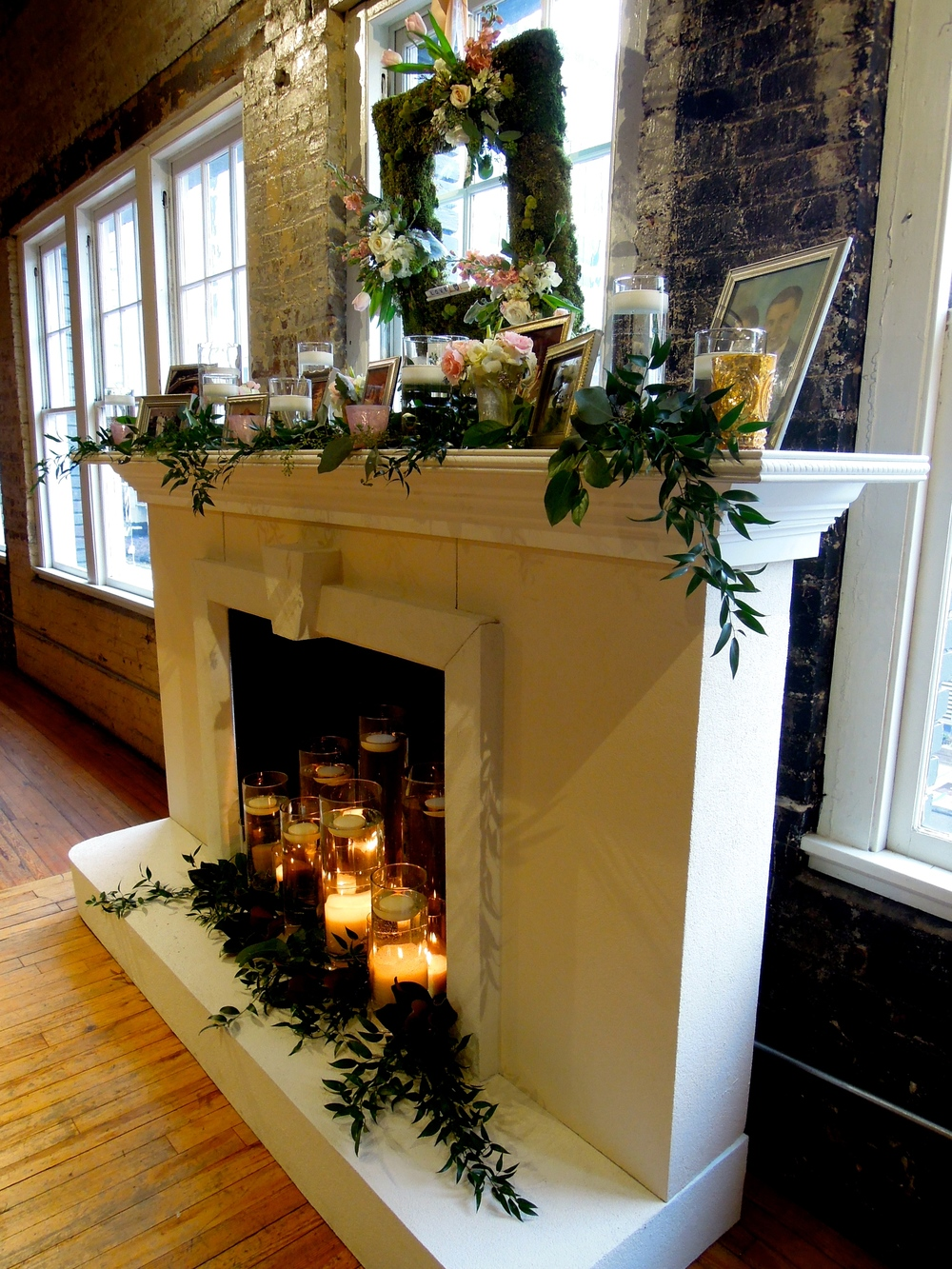 Beautiful Mantel built by Father of the Bride