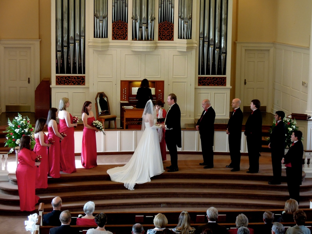 Wedding in the beautiful Jones Chapel on the campus of Meredith College in Raleigh NC