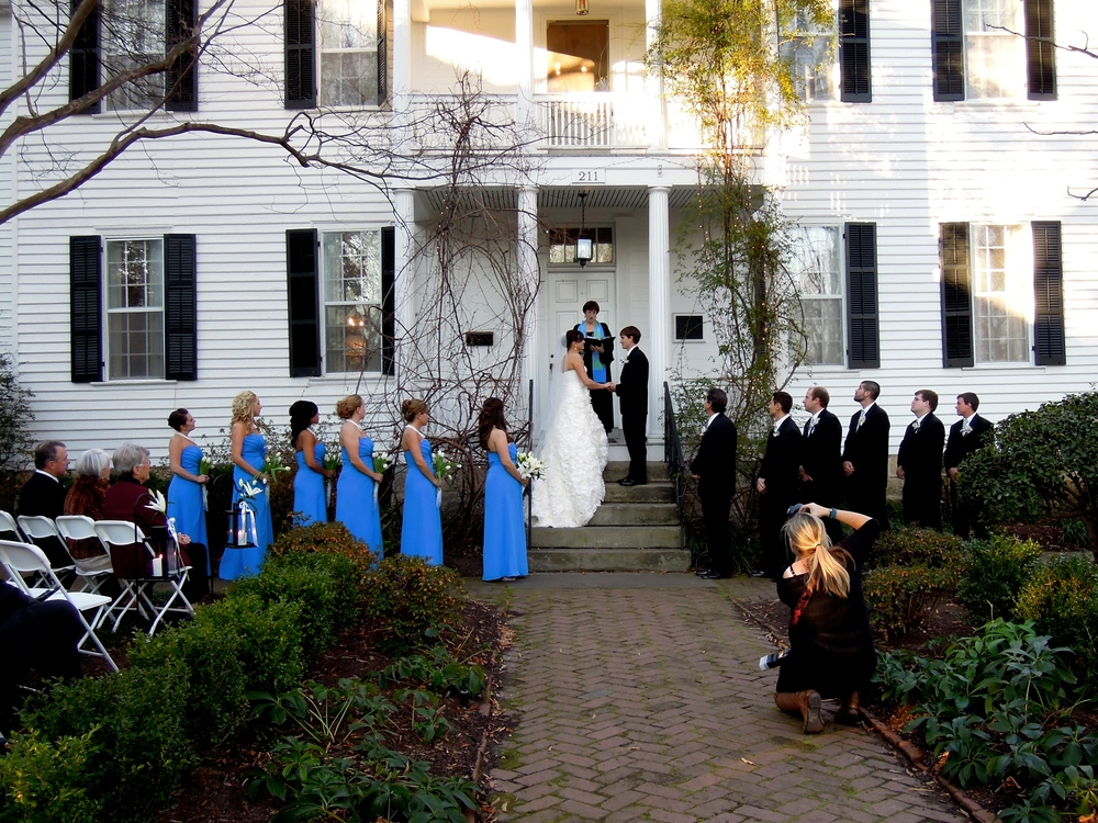 Outdoor ceremony at the historic Haywood Hall in downtown Raleigh