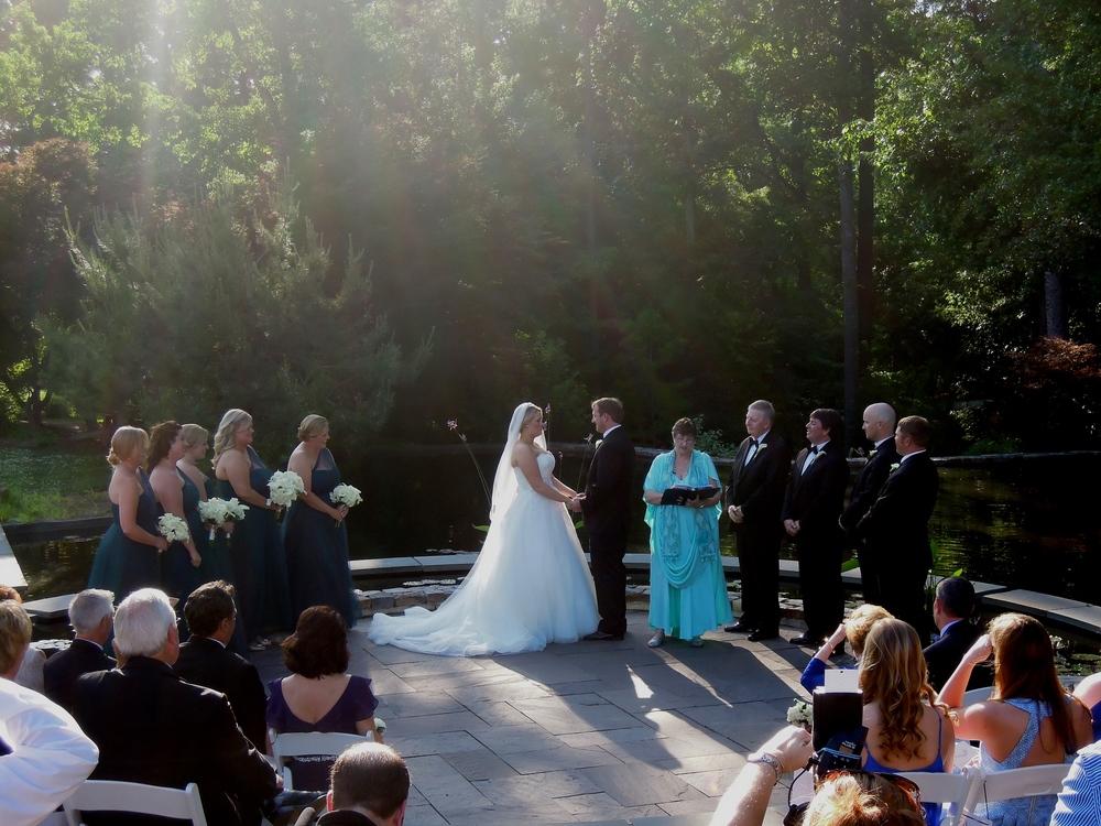 Dreamy wedding ceremony at Duke Gardens Angle Amphitheater in Durham