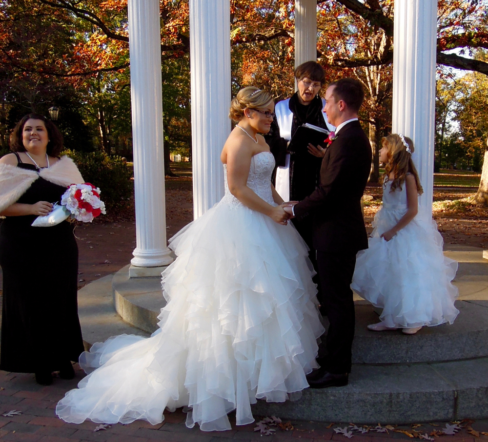 Sweet wedding at the UNC Bell Tower--a sentimental part of their relationship.