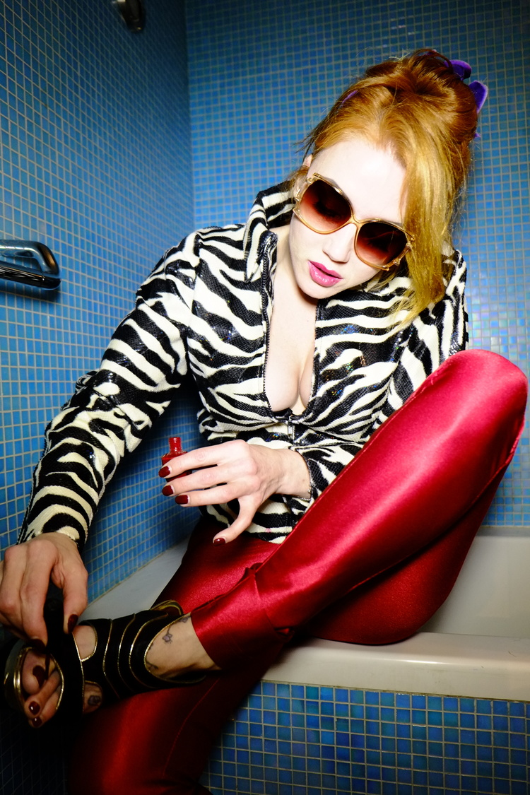 Red Satin Pants & Matching Nail Polish