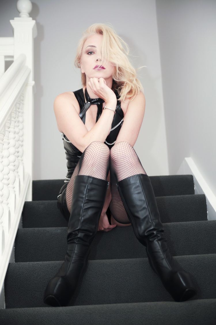 Blonde in Black boots & Fishnets