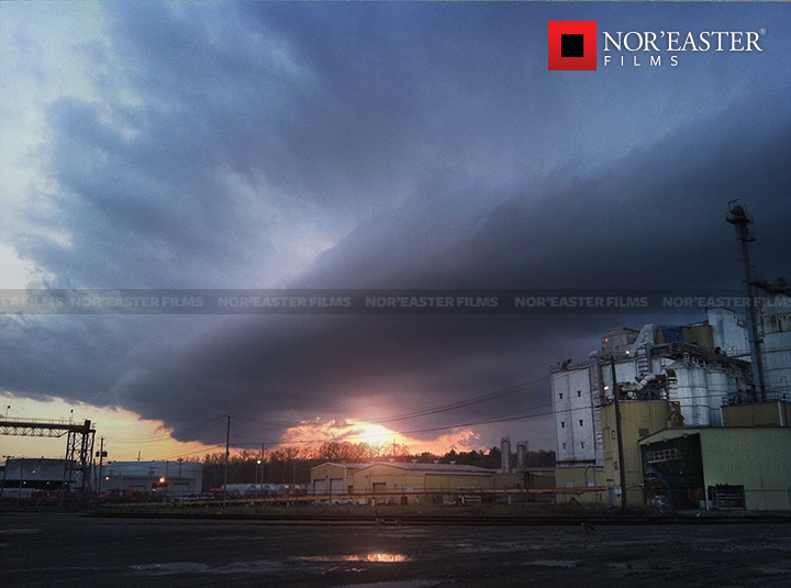 A shelf cloud overs over the south end of the Port of Albany