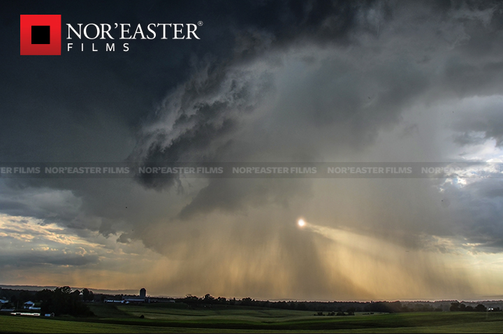 Storm season is coming: Sunlight and storm over Washington County, New York.