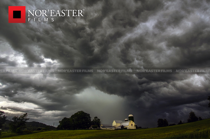 Severe storm passing over a farm in Washington County, New York.