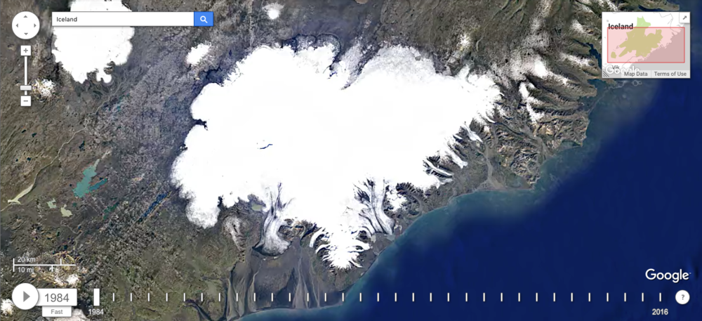 Iceland's glaciers in 1984. Image via Google's Earth Engine Time Lapse.