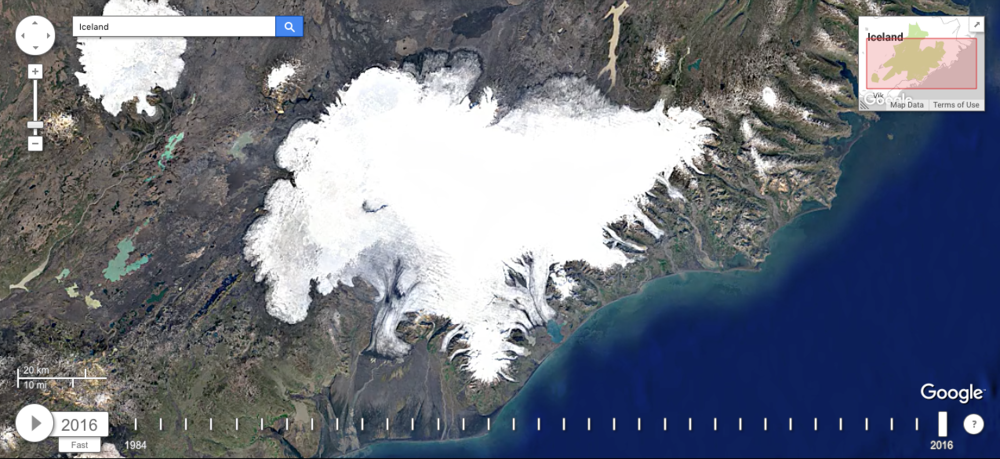 Iceland's glaciers in 2016. Image via Google's Earth Engine Time Lapse. Note the receding ice in the north and the south.