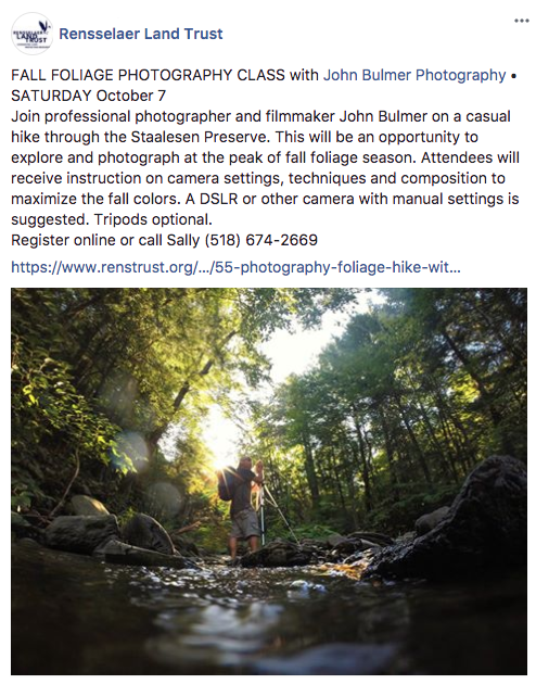 Photo Workshop with John Bulmer of Nor'easter Films on Saturday, October 7, 2017 in Troy, New York.