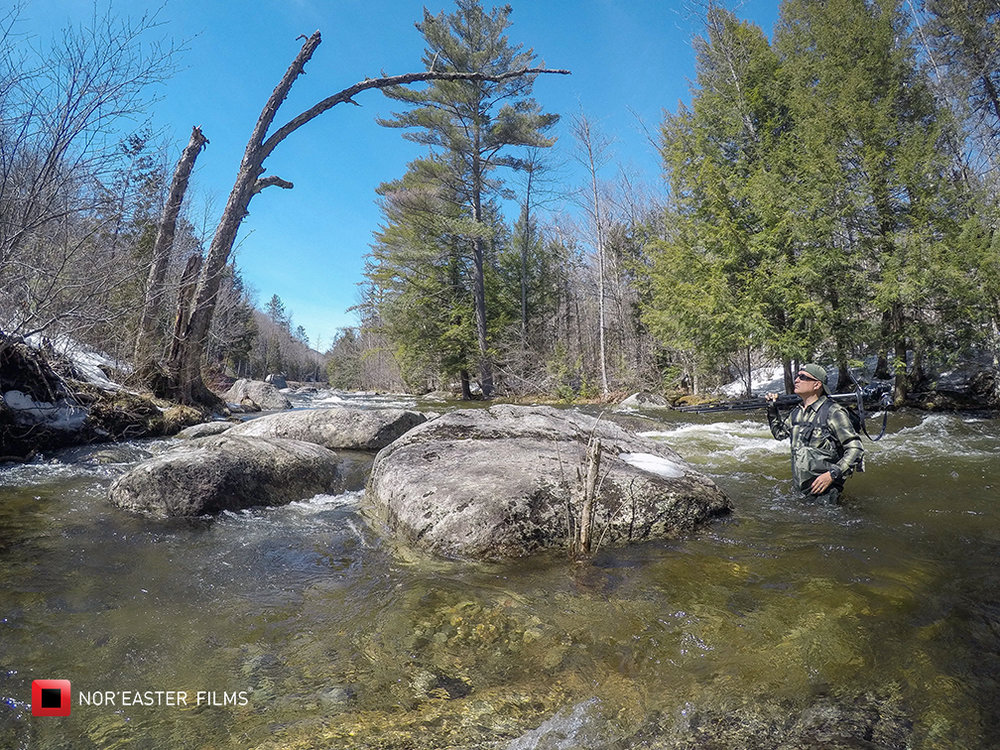 Shooting on location on the Boquet River, Adirondack Mountains