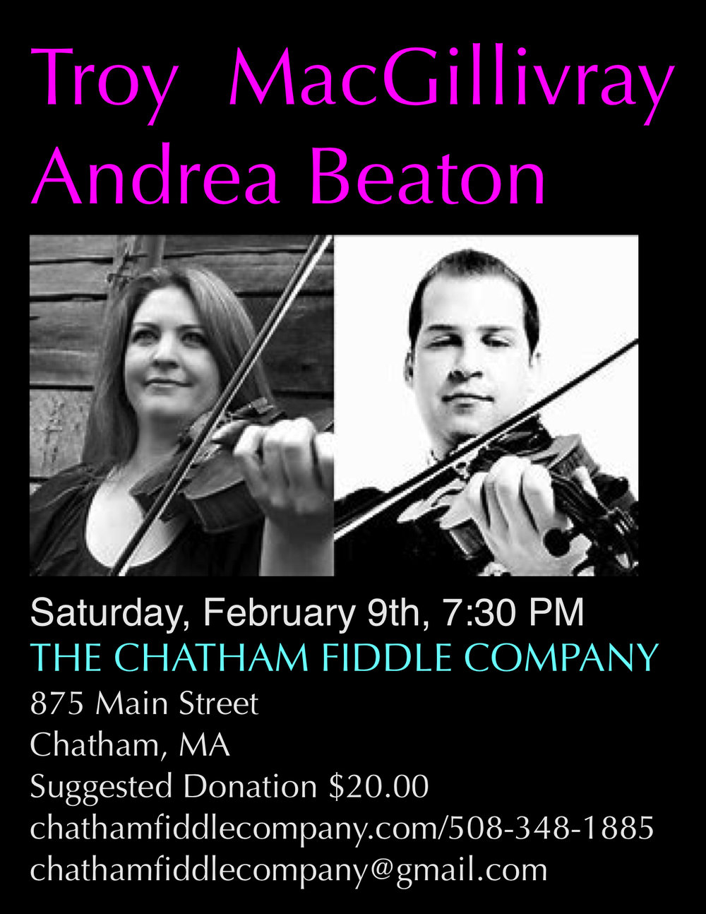 Don't miss this powerhouse duo in concert! Get your seats early. Always a great night with these two masterful fiddlers!