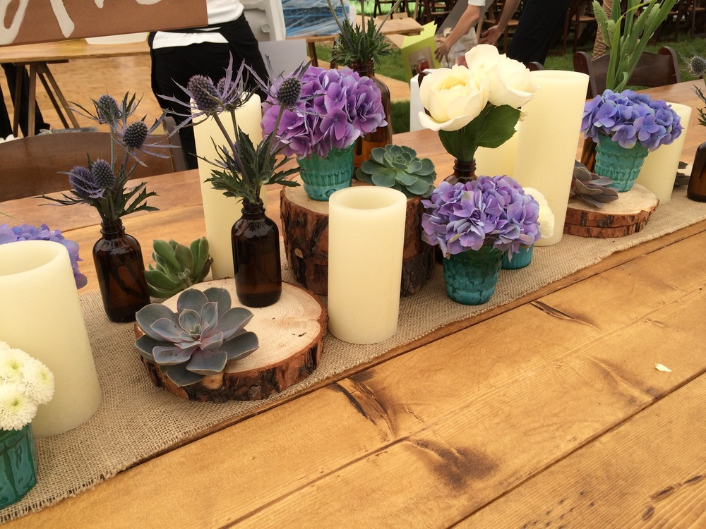 Heirloom Floral Design - Bend Weddings -Farmer florist-Locally grown- Oregon grown-Slow flowers-Centerpieces - Vandervert Ranch Private Residence Barn wood tables succulents 2.jpg