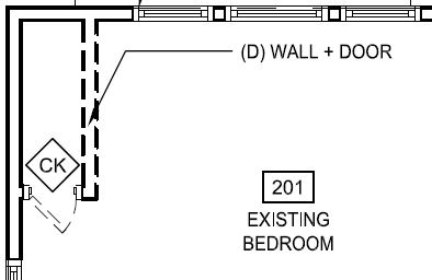 Items to be removed are drawn with dashed lines. Existing items to remain are drawn with solid lines.