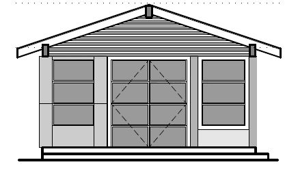 Example of a simple elevation drawing for permitting purposes   (does not explain much to the builder)