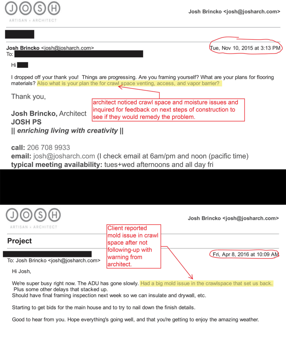 Here's an example email string between the architect and the client. The architect was inquiring about the construction progress after not hearing from the client for several months.