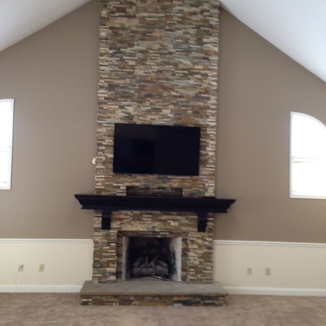 Stacked Ledgestone Fireplace