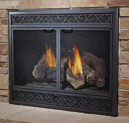 the aluminum dv deluxe adds safety u0026amp style to your direct vent fireplace the - Glass Fireplace Doors