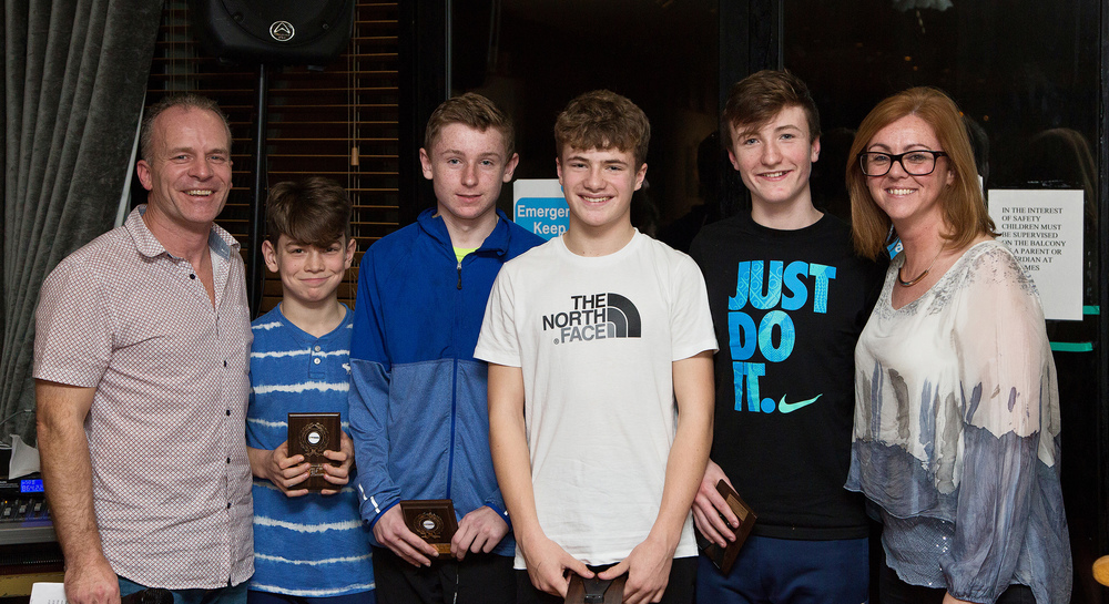 Team of the Year 2015 - U14 Boys Relay Team: Conal McAllister, Michael Farrelly, Conor Archer, Ronan Patterson (not pictured Mark Morris, Alex Cush)