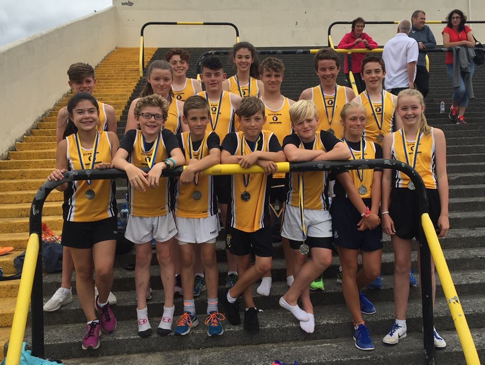 The Portmarnock AC team who took silver in the 16x100m u15 relay, part of the Morton Games at Santry