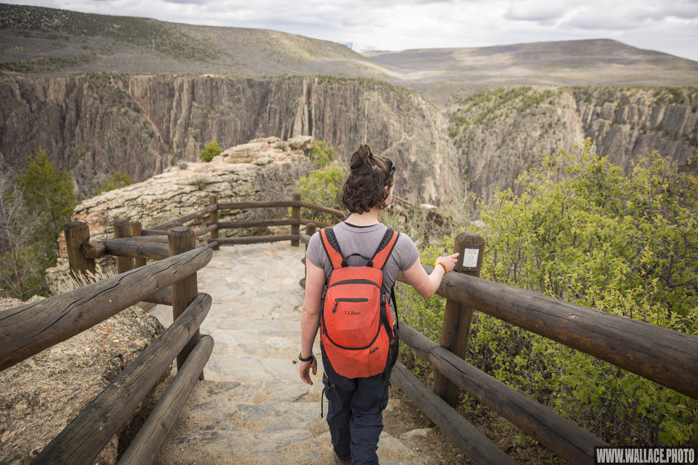 Sydney walks along the path to the Gunnison overlook, accessible from the visitor's center.