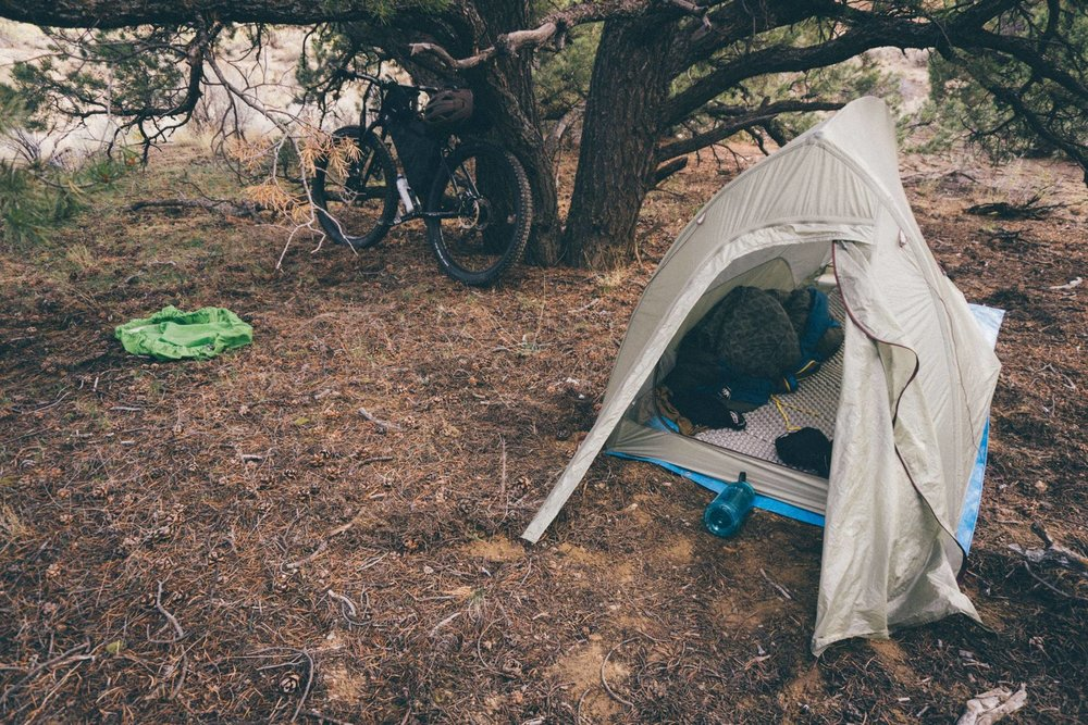 Camped under a Pinon near the wild horse refuge in Cameo, CO. Pretty comfortable night! I'm using a closed cell foam pad here because my inflatable sprung a leak somewhere…
