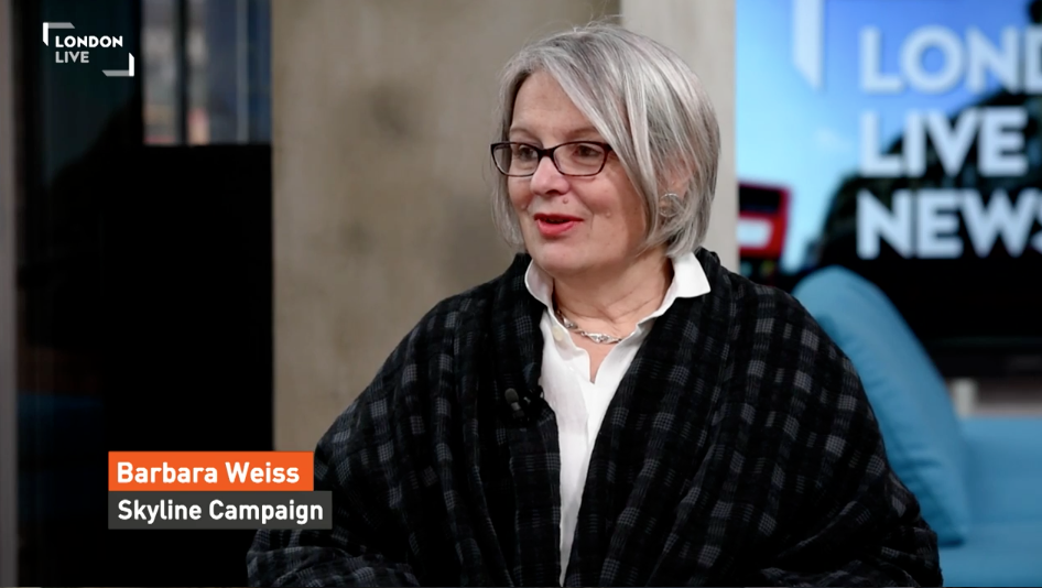 22 February 2016. Watch London Live to see Skyline Campaign Barbara Weiss in debate with Chairman of New London Architecture, Peter Murray, on the subject of tall building construction around London.