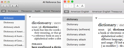 Dictionary on OS X Lion (left) and Yosemite (right)