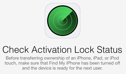 Apple Inc.  Activation Lock Status Webpage
