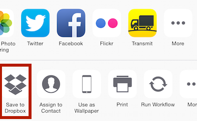 Dropbox 3 7 for iOS adds action extension to save files from