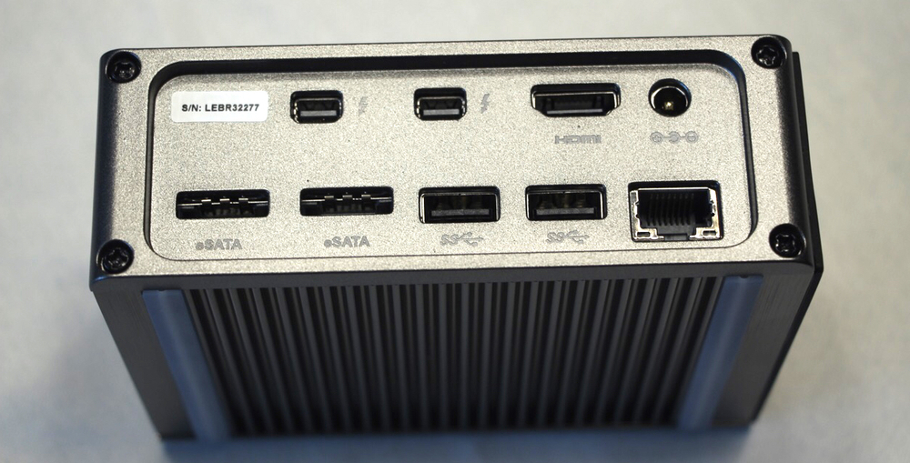 The business end of the caldigit thunderbolt station 2, showing the many ports. photo by steve sande, © 2015 all rights reserved