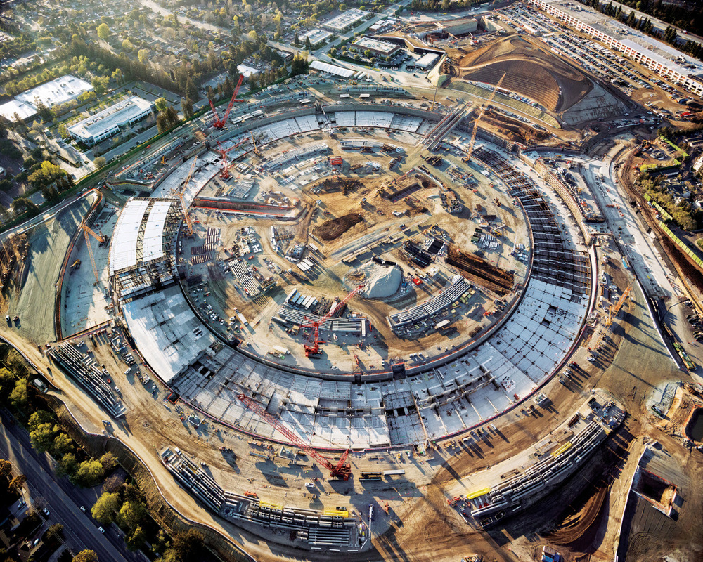 Aerial photograph of Apple campus two construction by michael light for the california sunday magazine