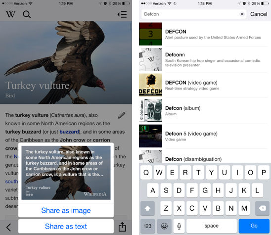 Wikipedia app overhauled with new sharing features, visually