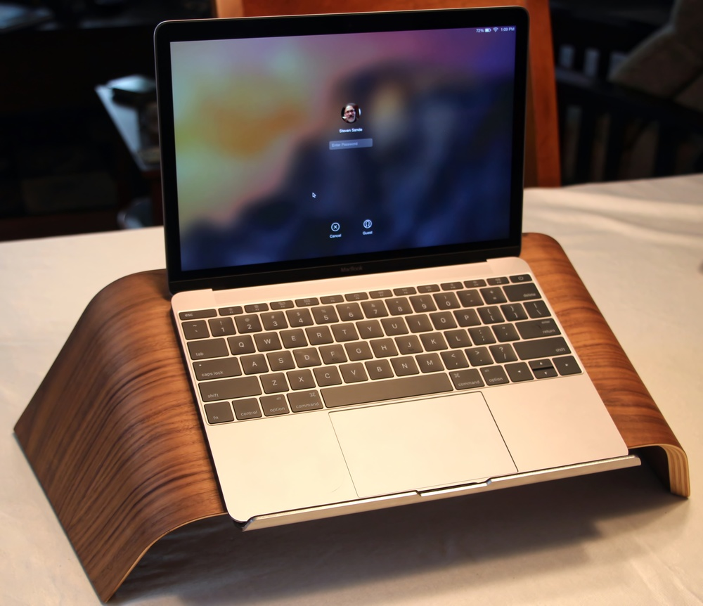 GROVEMADE WALNUT LAPTOP STAND. PHOTO © 2015, STEVEN SANDE