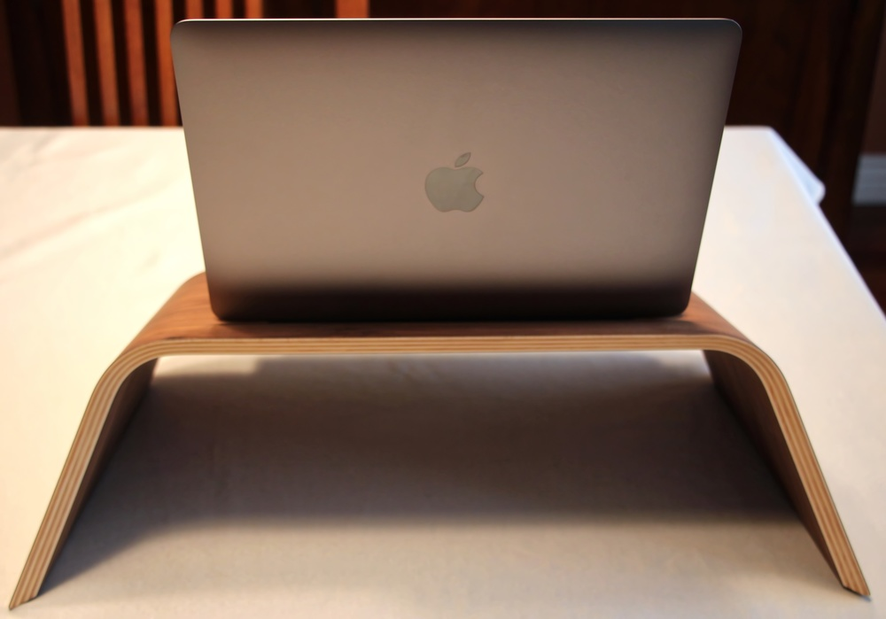 REAR VIEW, GROVEMADE WALNUT LAPTOP STAND. PHOTO © 2015, Steven Sande