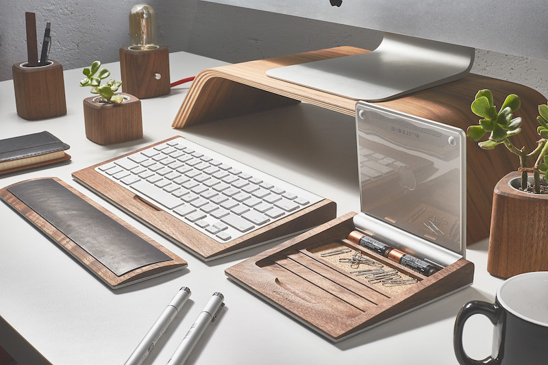 Grovemade's Desk Collection in Walnut, featuring the new Trackpad Tray