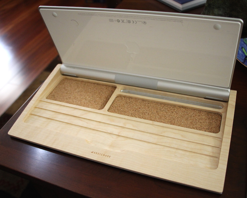 Grovemade Maple Keyboard Tray. Photo ©2015, Steven Sande. All rights reserved.