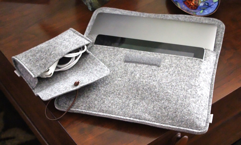 Inateck mp1200 felt sleeve for 12-inch macbook. photo ©2015, steven sande. all rights reserved.