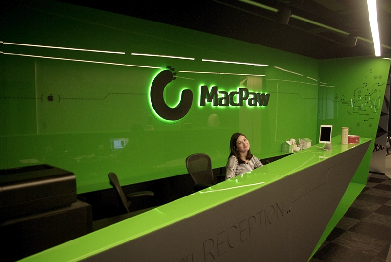 Reception area at MacPaw Offices in Kiev, Ukraine. Photo by Krystian Kozerawski