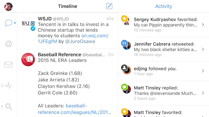 Tweetbot 4 timeline and activity in landscape mode on an iPhone 6s Plus